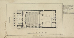 [Drawn plan of the new theatre in the Haymarket, as built in 1821]